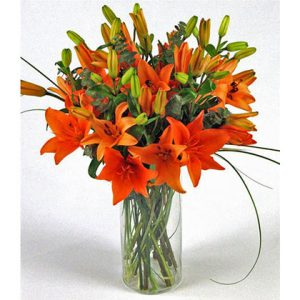 Orange Lily Flower Vase
