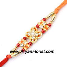 productShower your affection on your brother with this beautiful Rakhi crafted from dainty beads, silky threads, and colorful embellishments. The delicate design will surely delight your brother and make Raksha Bandhan even more special for him.