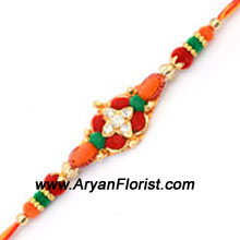 productSend this lovely Rakhi to your brother to celebrate Raksha Bandhan. Symbolizing the special bond shared between brothers and sisters, this Rakhi is created with the prettiest beads and threads. A beautiful design that will brighten your brothers day.