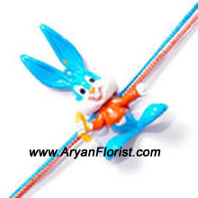 productA little bunny Rakhi for your little prankster brother. Specially made for your adorable brother, this bunny Rakhi is made out of colorful threads and a smiley bunny. Send it to your little brother and let him enjoy showing off his new bunny friend.