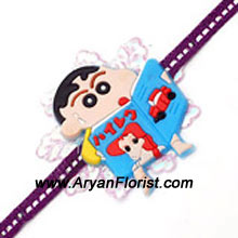 productFor your little prankster brother, here�s Shin Chan � the perfect partner. This Shin Chan Rakhi will delight your little brother on Raksha Bandhan. Order it along with his favorite cake and chocolates and make it the most special for him.