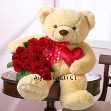 A gift pack certainly for much loved ones. A combo of the giant teddy bear and flowers make it a special gift for any personalized occasions and especially for Valentine's Day. Your gift of these 3 Feet Tall Teddy Bear with a Bunch of 24 Red Roses can be the best way to express the deep love that you cherished with your soul mate.�Surprise this huge pack to assure that you are always by their side.