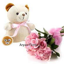 productThis combo pack offers you an elegant Bunch of 12 Pink Roses and a Medium sized lovable Teddy Bear which is enough to double your joy for celebrating the special events in your family, siblings and special friends. Express your immense love and affection as this comes to you as one of the best choices in hand. Available in a reasonable rate, this is a good buy within your budget for birthdays, friendship day etc.