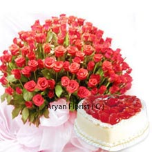 productThis combo includes a huge Basket of 150 Red Roses with 1Kg (2.2 Lbs) Heart Shaped Vanilla Cake. This combo basket not only shines with brightness and affection but adds charm to any kind of occasions. Whether it is a birthday, engagement party, anniversaries of your friends, colleagues, relatives you can surprise them with such a pretty present they have yearned for days. Be assured to get back loads of love and good wishes in your store