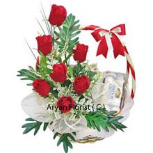 productA very attractive and uncommon combo Basket of 12 Red Roses with a Box of 16 Pieces Ferrero Rocher Chocolates. This much loved chocolate is one of its kinds and the arrangements of roses are finely designed with green leaves in between and that's setting it aside from every other combos. It is a suitable choice for gifting in festivals and in special occasions to your beloved ones. Wish them from far or spend quality time with this token of love.