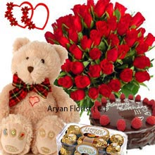 productA combo pack comes with several items such as a Bunch of 36 Red Roses, a 1/2Kg (1.1 Lbs) Chocolate Truffle Cake, a Box of 16 Pieces Ferrero Rocher Chocolates and a Medium sized delicate Teddy Bear. Girls generally want to keep their teddy gifts close at hand and also enjoy adorning those with accessories. A wise investment as you are getting all the stuffs that will woo your loved ones in no time. Present them on their days of celebration.