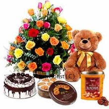 productSpecial handpicked arrangement of 24 Mixed Color Roses, Black Forest Cake of 1Kg (2.2 Lbs), Box of Danish Butter Cookies, and a Medium sized Teddy Bear clubbed with a sparkling Box of Chocolates. This gift combo is the best choice for any event of your beloved's life. Don't hesitate to present this as you cherish your loved ones more than anything. Add an extra color of shine to their special days of celebration where you are an inseparable part of their world