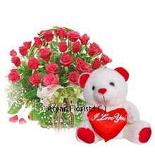 productEffortless handmade arrangement of 30 attractive Red Roses accompanied by a Medium sized Cute Teddy Bear attached with a Heart in front, this pretty set of items will melt your heart in no time. This comes as a best possible gift to impress your lover and express your affection in their special days of life, be it birthday, anniversaries or Valentine's Day; your soul mate will go crazy over your decent gesture of gifting this pack as a present.