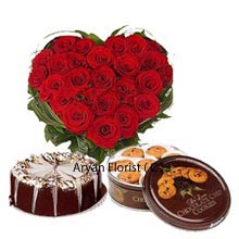 productWonderfully designed gift pack containing a Heart shaped arrangement of 40 Red Roses, 1Kg (2.2 Lbs) Butter Scotch Cake along with a Box of Danish Butter Cookies. A rare combination of such delicious mouthful savories with gorgeous rose bouquet are ready to be presented to your loved ones in their special days of celebrations. Make the moment's standby, spread joy and gift this to show your unconditional love that you cherish for them inside yourself.