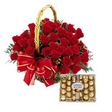 Beautifully arranged red roses in a pretty basket when presented can surprise anyone at first. Also the pack combined with chocolates will surely make them fall in love with you. A basket of 36 Red Roses with a Box of 24 Pieces Ferrero Rocher Chocolates is one of the exclusive gifts one can receive. This small token of love is precious than any other in hand for every occasions such as birthday, anniversaries or any other day of celebration.