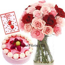 productPink and red colors are the symbol of love and passion and this combo is specially designed with all the love to spread only love. The beautiful vase contains an impressive bunch of 18 red and pink roses. The fresh and delicious strawberry cake is an extra beauty to the gift. The cake size is half kg and is beautifully presented in round shape. Send the message of your heart in Valentine card to your beloved one. The gift is a gorgeous combo for the love in the air and makes senses invigorated and warm.