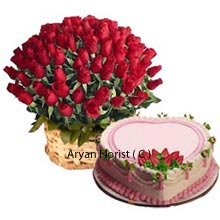 productYou can fully share and enjoy moments of bliss and love with this pretty bamboo Basket of 100 Red Roses and 1Kg (2.2 Lbs) Heart Shaped Strawberry Cake. The beautifully decorated cake with tongue licking strawberry flavor along with the gorgeous bouquet is a very decent present that can be gifted for all the remarkable events. Go for this choice to please the persons concerned and you will never regret for this worthy buy.