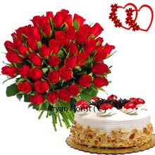productThis dual pack comprise of 30 Red Roses in a Bunch and a Butter Scotch Cake weighing 1/2Kg (1.1 Lbs). With this finely handmade designed bouquet and the real yummy cake one can fall for the presenter's choice. If you are planning to delight your dearest people, you can unhesitatingly present the pack in their special occasions. Relish and cherish with your darling this wonderful piece of combo pack ready to seek your special attention.