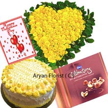 productA splendid collection of a Heart Shaped arrangement of 100 Yellow Roses, a 1Kg (2.2 Lbs) Pineapple Cake clubbed with a Box of Cadbury's Chocolates and a Valentine's Day Greeting Card. If you want to make your friend feel loved and irreplaceable for whole life then this option is tailor made for you. Get it delivered as soon as possible for this is something you can't miss to purchase. A best present on birthdays, anniversaries, engagement day and other personalized days.
