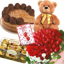 productThis magnificent pack of several attractive items is sure to blow your mind away. It consists of handmade Bunch of 50 intense Red Roses; 1/2Kg (1.1 Lbs) of Chocolate Cake, a medium sized adorable Teddy Bear, a Box of 16 Pieces Ferrero Rocher Chocolates and a Valentine's Day Greeting Card too. Lots of occasion come and go and we miss some as well. With this as a present you can deliver your token of love at your beloved's doorstep that will nullify the despair of your absence.