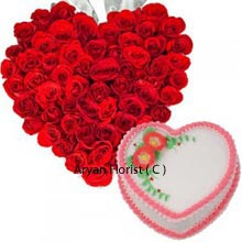 productThis is a hearty combo of a Heart shaped arrangement of 100 Red Roses and a Heart Shaped Strawberry Cake of 1Kg (2.2 Lbs) weight. An instant choice for gifting to someone close to heart. Indulge yourself along with your special person with this amazing present of floral luxury and yum strawberry flavor. Fulfill their expectations on their unforgettable days of life that you are a special part of. Send them good wishes and remain forever in their hearts.