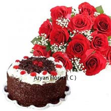 productRose is the symbol of beauty, peace, love, and nature's abundance and these are knotted elegantly in a bunch. The tremendous bunch of 12 Red roses gives the spellbinding experience for senses and feel of love, peace and passion. Along the bunch of lovely Red Roses comes the tempting 1 Kg(2.2 Lbs) Black Forest Cake. The cake is freshly baked and presented with the cherry on the top. The combo is best presented and is suitable for all occasions.