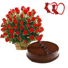 productThe wonderful bamboo basket with 50 elegant red roses tied beautifully is a wonderful present. Delicious 1kg (2.2lbs) chocolate truffle cake would be a wonderful temptation to your mate. A tempting cake is must for every celebration and is remembered forever. Roses bring the positivity and love with the cake is all about creating the unforgettable memories. The tasty cake will surely make you tempt for more. Every celebration is incomplete without the cake and roses. The product delivers the perfect love for your celebration.