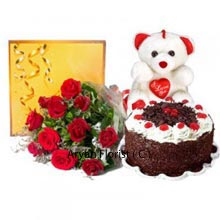productA bunch of elegant 12 Red Roses are knotted beautifully to deliver the rhythmical romance. Red roses generally signify romance as they are exceptionally beautiful by appearance and their fragrance is truly scintillating. Celebrate the day with tempting 1 Kg (2.2 Lbs) Black Forest Cake. The mouth-watering cake makes the day more remarkable and every celebration is incomplete without the delicious cake. The combo gift also includes the medium size teddy bear with heart in between and there is box of Cadbury celebration pack for the love of sweets and sweet moments.