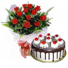 productIt is time for the year to show love to the special person in your life. Here comes the product that is the perfect gift for Valentine day. A bunch full of love and passion arranged beautifully with 18 red roses. Cake always reminds us of our childhood memories and most of the people are fond of cake regardless of their age. Black forest cake that weights 1 kg(2.2 Lbs) is tempting and tastiest. The combo gift is suitable for all occasions and everyone.