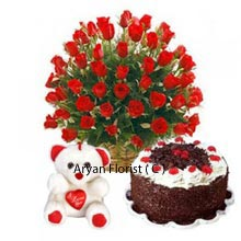 productBeautiful arrangement of 40 Red Roses, along with a Black Forest Cake weighing 1Kg (2.2 Lbs) and a Medium sized Cute Teddy Bear attached with a little Heart, this set will win your heart and make you want gift this to your special ones for celebrating their memorable days. Besides this you can also send this to your professional ties. At an affordable price, you are getting flexible combinations�from which you can increase their joy