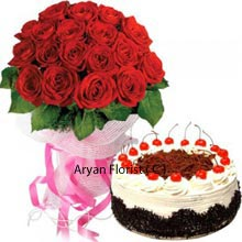 productA set of 24 Red Roses in a Bunch with Black Forest Cake weighing 1Kg (2.2 Lbs) is the cutest present waiting to be delivered for your special ones. Red roses are a path to reach hearts and that too combined with a Black Forest Cake can be a pretty good expression of your affection to your mate. Impress anyone you admire or your partner by presenting this set on their memorable days of life. Do not miss this wonderful chance.