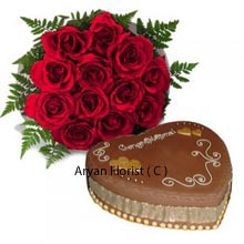 productRoses undoubtedly stand out among all the flowers and make floral luxury one of its kinds. The bunch of 12 Red roses looks stunning as a gift to loved ones which is accompanied by delightful 1 Kg (2.2 Lbs) heart shaped chocolate cake. Roses have always been known as the symbol of passionate love and the freshly baked mouth savoring cake with its amazing icing top is something to be longed by every lover. The combo gift is a perfect fit for Valentine Day, Marriage Anniversary and all moments of celebration