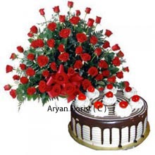 productCake always reminds us of our childhood memories and most of the people are fond of cake regardless of their age. Black forest cake that weights 1 kg (2.2 Lbs)is tempting and tastiest. The cake is incomplete without beautiful roses, so the combo comes with the stunning arrangement of beautiful 100 roses. Cake and Roses bring the same magic in the eyes be it, kids or adults. Cake and flowers are suitable for every occasion and loved by everyone.