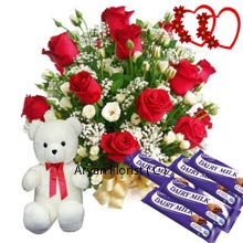 productThis triple combo comprises of a Basket of 12 Red Roses with Seasonal Fillers, a Small lovable Teddy Bear and 5 Dairy Milk Chocolates. This charming basket is perfect for any occasions. As we dwell in a place of perennial celebrations this basket offers you value with sweetness of chocolates, handpicked flowers, and soft teddy gift. Get it at your door or surprise your loved ones by personally reaching them. Get back all the love you have been longing for!
