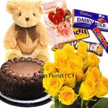 productA wonderful combination of several lovable stuffs at one place. It will delight your mate with a sober Bunch of 18 Yellow Roses; very yummy Chocolate Cake weighing 1Kg (2.2 Lbs), a medium Size Cute Teddy Bear and some assembled Cadbury's Chocolates. Also a Valentine's Day Greeting Card is attached with it to pen down your thoughts and feelings for your beloved. Make it a point to gift this pack and you are to please them undoubtedly!