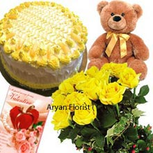 productThe yellow flowers have always been associated with cheering people up and make them feel special. The Bunch of 12 elegant Yellow Roses are arranged beautifully to deliver the smirks and happiness. The combo includes the medium size Brown colour Teddy Bear with golden colour bow and soft fur. The black eyes Teddy bear is so cute and adorable. And the wonderful tempting 1 Kg (2.2 Lbs) pineapple cake and a Valentine Greeting Card is truly an additional beauty to the gift.