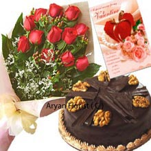 productA beautiful bunch of 12 red roses is packed elegantly with fine decorative paper and stunning ribbon. The bunch of red roses provides the inner happiness. The soft magical touch of flowers gives the spellbinding experience. Along with the flowers comes the appealing chocolate truffle cake that weights 1 kg(2.2 Lbs) and filling for your loved ones. Write the words straight from the heart in the amazing Valentine card that spreads the love and is all about expressing and creating memories.