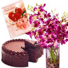 productOne of the rare trio combo consisting Fresh Orchids in a Vase, a Chocolate Cake of 1/2 Kg (1.1 Lbs) with a Valentine's Day Greeting Card. A perfect match for enjoying Valentine's Day romance with your soul mate. A beautiful scented and colorful orchid along with the greeting card to express your feelings complemented with chocolate cake is the best gift for romantic outings. Spend quality time and make your day wonderful by presenting this.