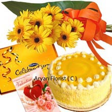 productDaisy flower is loved for their simplicity and unaffected air. The bunch of 10 yellow daisies is knotted elegantly and gives different and unique look to the present. Valentine's Day celebration is must with the small box of Cadbury's Celebration Pack. Chocolates are loved by everyone � kids and adults, so this small box gives amazing experience. The delicious pineapple Cake weights 1 Kg(2.2 Lbs) is presented beautifully. A Valentine greeting card sends the message lovingly to the special one.