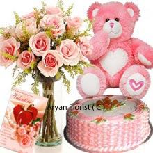 productThis combo pack offers you value as you are getting these whole range of 1Kg (2.2 Lbs) Strawberry Cake, 12 Pink Roses in a Vase, Medium sized Teddy Bear and a Valentine's Day Greeting Card. On one side you are able to savor the strawberry flavor of the cake and on the other side you have complementary gifts to present those to your beloved ones. Make a step ahead that is worth for you and the one you are gifting.