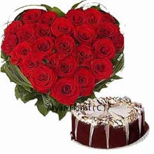 productA cute combo of a Heart shaped handmade arrangement of 40 Red Roses wrapped in green leaves with 1Kg (2.2 Lbs) Black Forest Cake. This set will catch your attention because of the beautifully designed floral luxury and its contrast. If you are thinking to gift someone for a special event this will cater your immediate need and create a good impression. Move ahead with the awesome present and add shine to their special day.