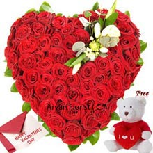 productA very attractive set consisting of a Heart Shaped arrangement of 100 Red Roses with a Free Small Teddy Bear and a Valentine's Day Greeting Card. What could be a better gift for celebrating romance on Valentine's Day? This free gift of teddy is made to make your darling fall in love with you one more time just in a blink of eye. Shower your love and affection by gifting it to your valentine with every moment spent.