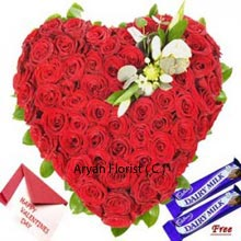 productThis pack comes with a Heart Shaped arrangement of 100 Red Roses accompanied with Free Dairy Milk Chocolates and a Valentine's Day Greeting Card. Celebrate the beautiful moments with handpicked floral delight and the card to share your unspoken words. Chocolates come in variety and form and here with this pack you are getting it costless. No need to think twice over this as your lover will be elated while receiving such a nice present from your side.