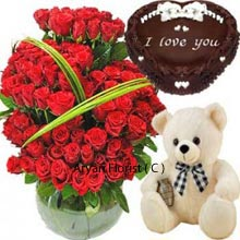 productA combo of a Huge Basket of 150 Red Roses, a Medium sized Cute Teddy Bear with Heart Shaped Chocolate Cake weighing 1Kg (2.2 Lbs). Flowers, teddies, and cakes make one of the best gift combos to match up with the warmth of your closed ones. This gift combo can also be sent to other official and corporate celebrations. Whether its personal or professional ties, these tailor made baskets serves your needs for any event.