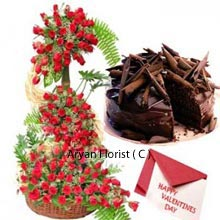 productRoses are the natural way to make up for the day. What more can one ask for than stunning 200 roses in 4 feet tall arrangements with the delicious 1 kg(2.2 Lbs) chocolate cake with the message of love in a Valentine card. The gift will surely enhance the fondness in heart. Roses arranged elegantly from top to bottom gives the special touch and lifetime experience of showering love. This gift will make the bond of relationship stronger and deeper. Like the beauty and fragrance of roses leave the mark in heart forever, delicious chocolates will keep up the temptation.