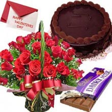 productValentine day is the day of love and passion; cakes, chocolates, and flowers are must to celebrate the day. The amazing gift includes everything; a beautiful arrangement of 36 red roses tied elegantly with the satin ribbon, a tempting cake, 1 big dairy milk chocolate and greeting card. This makes the perfect gift for your loved one and makes the day for them. Round shape 1 kg(2.2 Lbs) chocolate cake is truly delicious. Give your message in a beautiful valentine card.