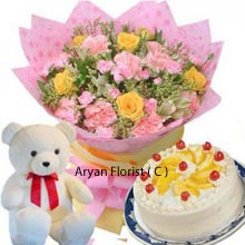 productA quadruple set of 6 Yellow Roses in a Bunch and elegantly designed 6 Pink Carnations, a tiny Cute Teddy Bear and a Pineapple Cake of 1Kg (2.2 Lbs). This tailor made present is made for you and your loved ones to make special occasions more memorable. Get it delivered at middle of night or gift them personally it's your matter of choice but this is certain to increase the joy when presented out of care.