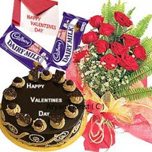 productA Valentine greeting card is oldest yet the best way to send the message of love. Along with card the product brings the bunch of 12 well-designed red roses with seasonal fillers, Dairy Milk chocolates and Butter Scotch cake. The delicious round shape cake weights 1 kg (2.2 Lbs) and is offered stylishly. Tempting cake adds the magic with the basket of lovely roses. The combo is designed perfectly with love and spreads the miracle of love everywhere.