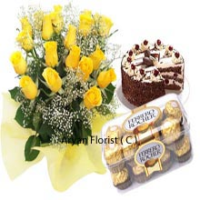 productA present is a gift wrapped with love and care. Here a beautiful collection of 20 Yellow Roses in a Bunch, a heart stealing Black Forest Cake of 1Kg (2.2 Lbs) and a shiny Box of 16 Pieces Ferrero Rocher Chocolates are packed together. With this pack as a present one can get easily swayed away to the lip smacking flavors of cake and chocolates. Be assured that your beloved will start pampering you more on receiving this present on their birthdays and any other special days