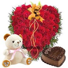 productAn awesome collection of a Heart shaped arrangement of 100 Red Roses; a 1Kg Heart shaped Chocolate Cake and a Medium Sized soft Teddy Bear. Overall it is a perfect present for your Valentine to celebrate their unforgettable days of life. The intensity of your feelings you owe to your partner will make your relationship stand out in every way and this thought can be expressed through exclusive teddy gifts which is clubbed with the savory and flowers.