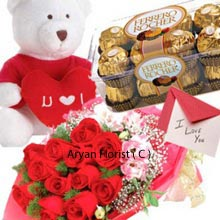 productA bunch of 12 Red Roses are knotted in the pretty special way to deliver the love and tenderness. Like the saying old is gold, Greeting Card is ancient yet the most effective way to express the love from heart. The combo includes the medium size cute Teddy Bear with the red heart in the middle and is truly charming. And the box of 16 Pieces Ferrero Rocher Chocolates is awesome and delicious. The wonderful gift includes all Red Roses, Greeting Card, Teddy Bear and the box of Chocolates.
