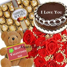 productA magnificent pack consisting a mesmerizing bunch of 24 Red Roses, a medium Sized adorable Teddy Bear, a Box of 24 Pieces Ferrero Rocher Chocolates wrapped in golden foil and also a 1/2Kg (1.1 Lbs) Chocolate Cake. On one side a cute Teddy is waiting to be hugged, caressed and on the other delicious chocolates are going to melt cold hearts instantly. This is a must buy as a present without much over thinking.