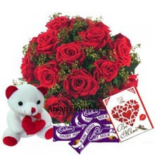 productIt is time for the year to show love to the special person in your life. Here comes the product that is the perfect gift for Valentine day. A basket full of love and passion arranged beautifully with 18 red roses. A small fluffy teddy bear with a soft touch to soften the heart of loved one. Valentine greeting cards carry the love message and enjoy the forever love of chocolates. The product has everything that is needed for Valentine � A basket full of red roses, Chocolates, Small Teddy Bear and a greeting card.