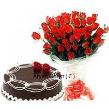 productA dual combo of a sumptuous Chocolate Truffle Cake weighing 1Kg (2.2 Lbs) accompanied with a gorgeous handmade Bunch of 36 Red Roses is offered to you specially keeping in mind the affordable price and the delight that it spreads in the special days of your life. Set the mood on, savor the truffle, feel the senses, celebrate the precious time together by gifting this as a present to your mate and create beautiful memories.
