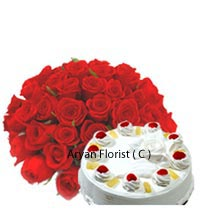 productHandmade arrangement of 24 auspicious Red Roses and 1Kg (2.2 Lbs) Vanilla Cake is the one of the decent gifts one can present to their dear ones. With the taste of sweet Vanilla and a flower bouquet you will be adding a special touch of love for sure. Express your love, respect and gratitude by presenting this as a gift to your personal connections as well as business circles. Make a day that adds sunshine to their lives.